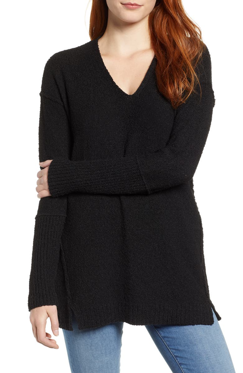 CASLON<SUP>®</SUP> Bouclé Tunic Sweater, Main, color, BLACK