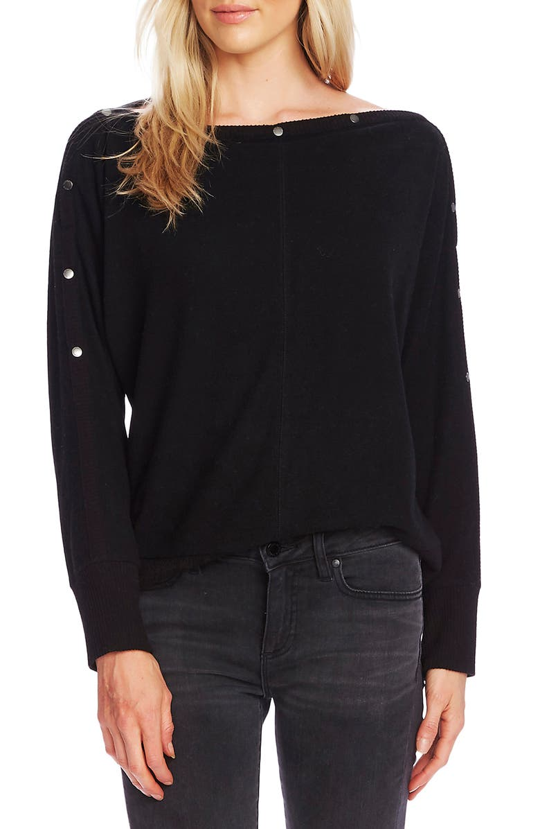 VINCE CAMUTO Snap Trim Dolman Sleeve Sweater, Main, color, RICH BLACK