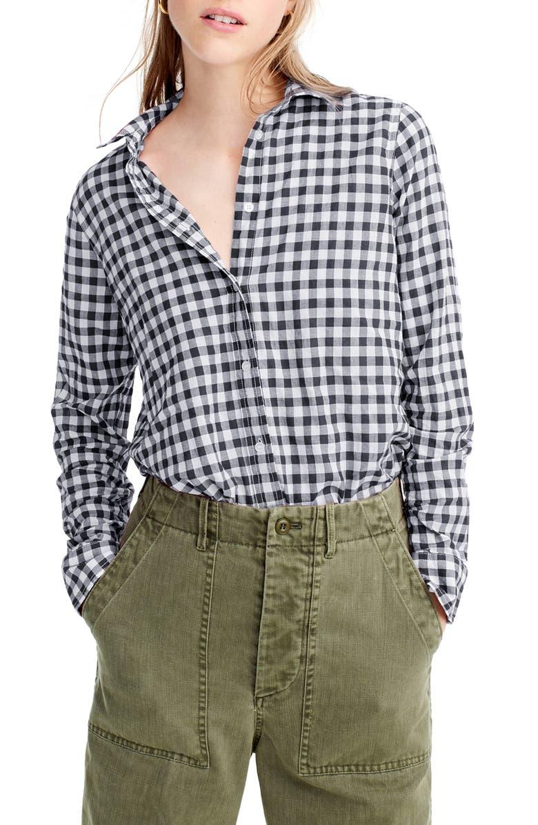 J.CREW Crinkle Gingham Boy Shirt, Main, color, BLACK WHITE