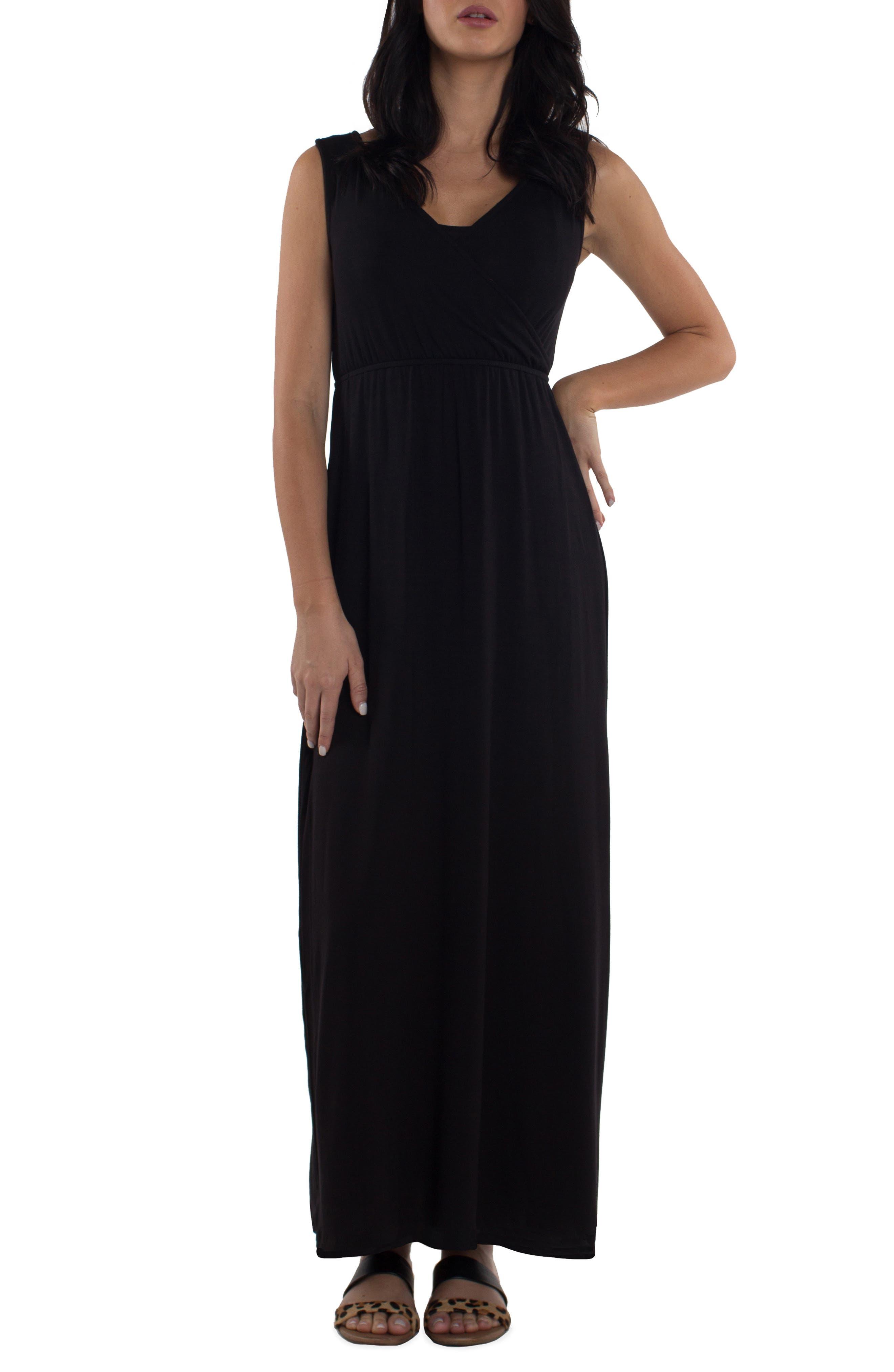 Udderly Hot Mama Maddie Maternity/nursing Maxi Dress, Black