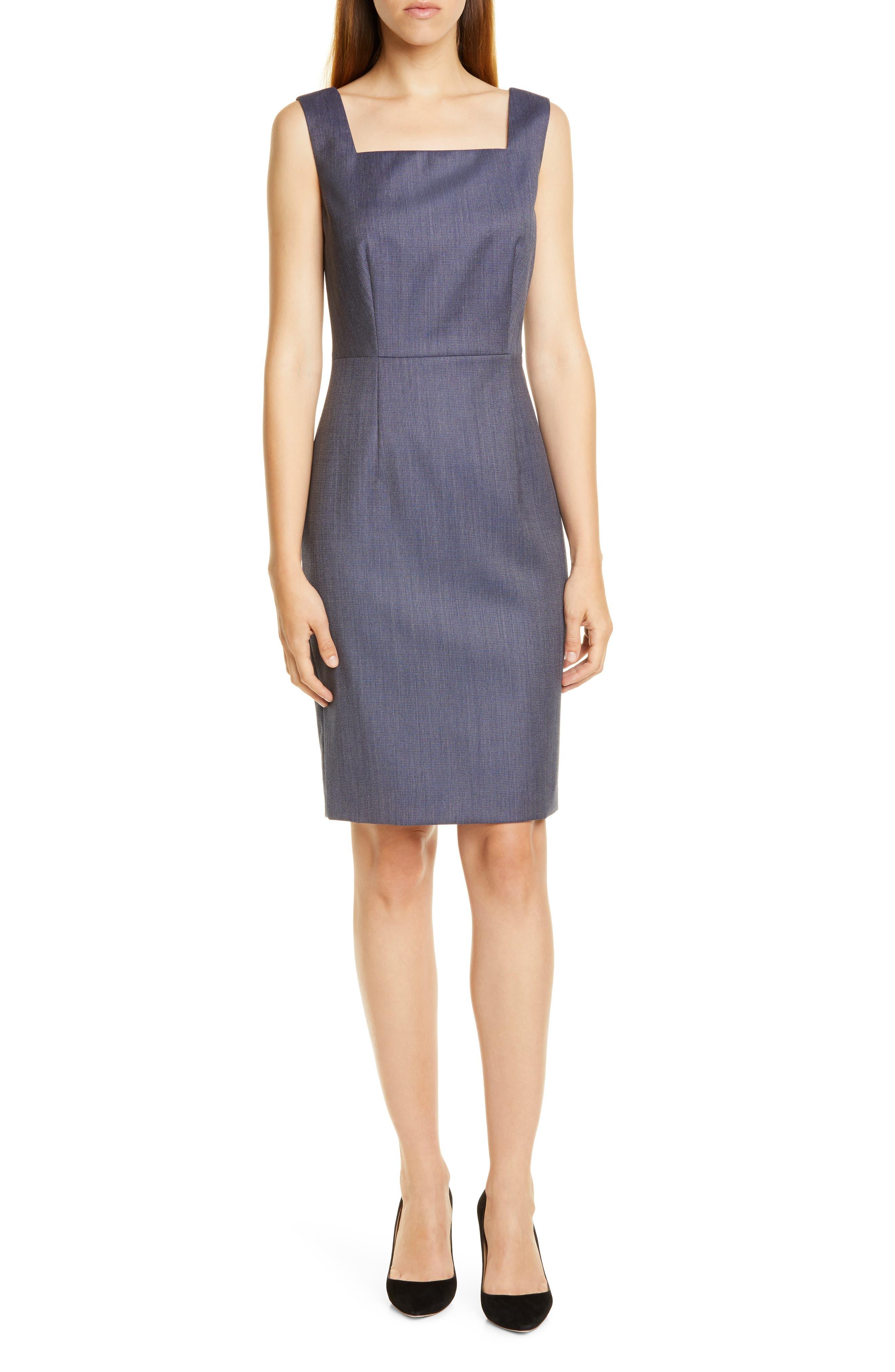 Boss Digela Blurred Minidessin Sheath Dress, Blue