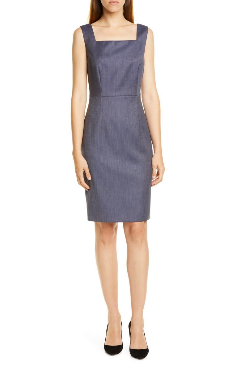 BOSS Digela Blurred Minidessin Sheath Dress, Main, color, KLEIN BLUE FANTASY