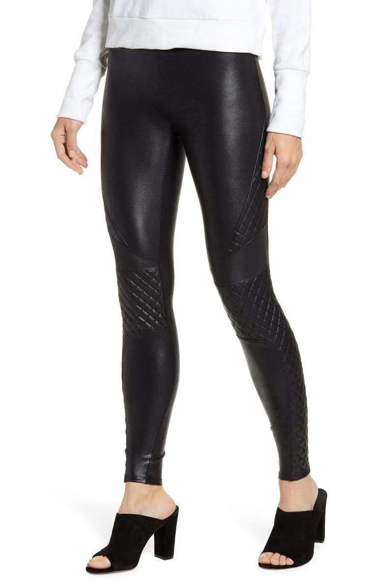 SPANX<SUP>®</SUP> Quilted Faux Leather Leggings, Main, color, VERY BLACK