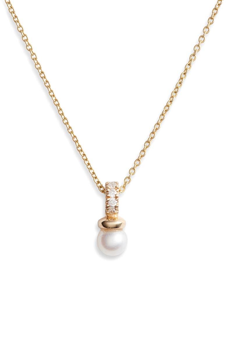 DANA REBECCA DESIGNS Pavé Diamond & Pearl Pendant Necklace, Main, color, YELLOW GOLD