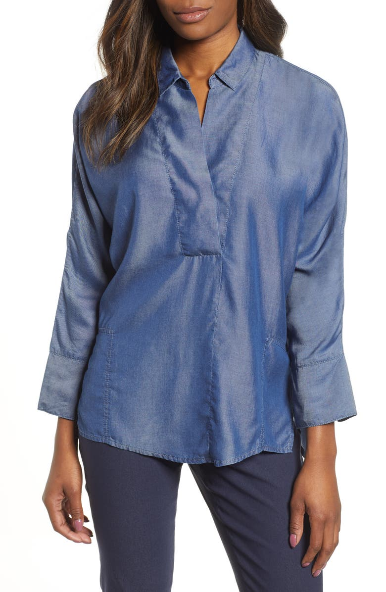 NIC+ZOE Flowing Ease Denim Top, Main, color, MID DENIM