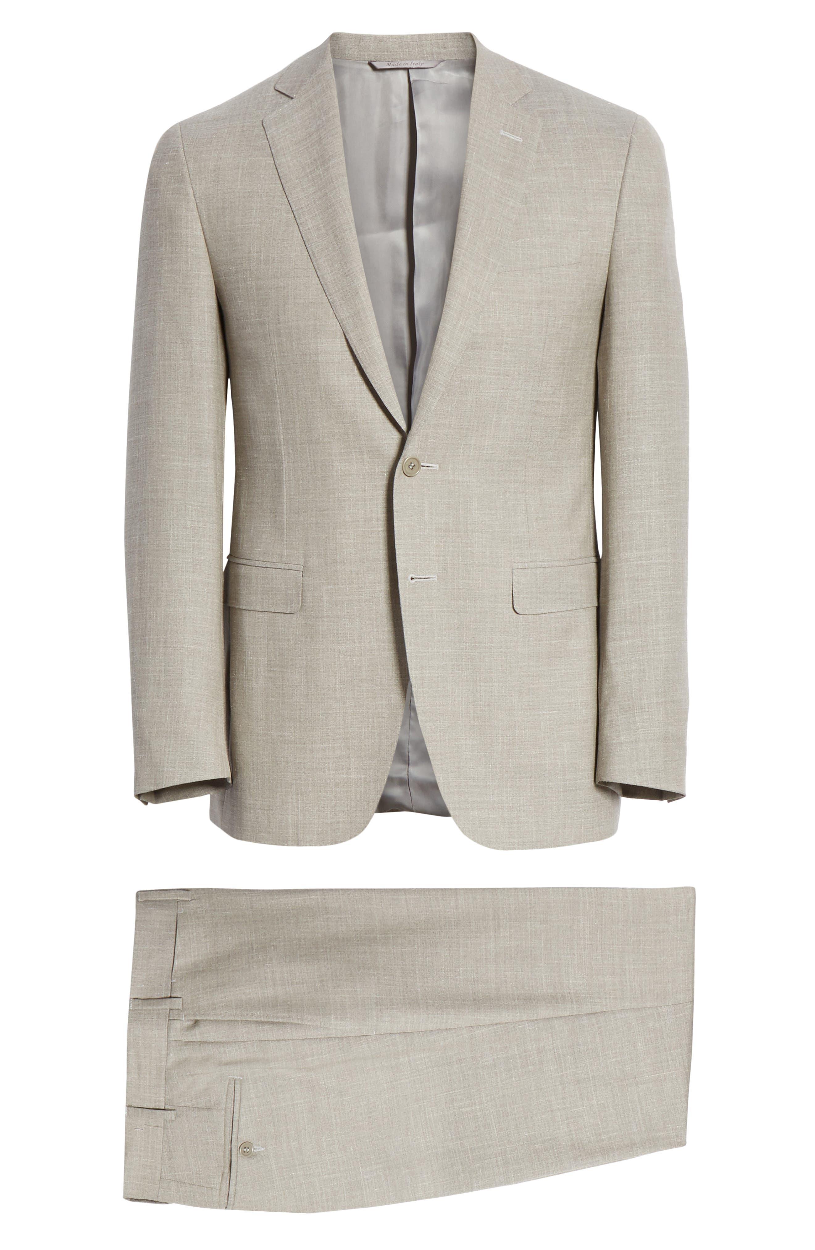 ,                             Milano Trim Fit Solid Wool Blend Suit,                             Alternate thumbnail 8, color,                             BEIGE