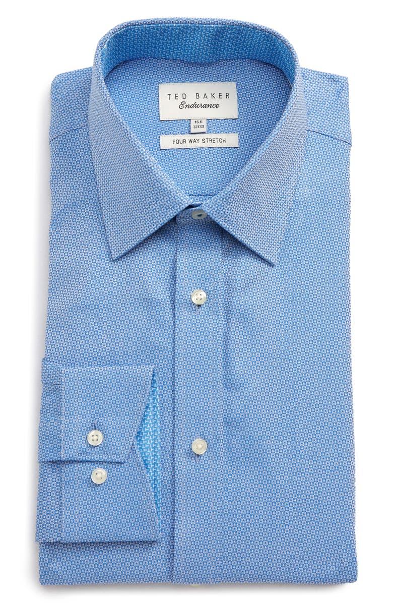 TED BAKER LONDON Trim Fit Stretch Print Dress Shirt, Main, color, BLUE