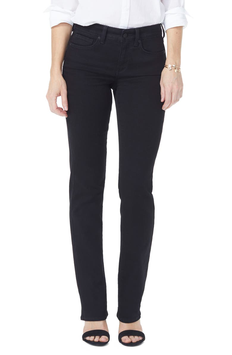 NYDJ Marilyn High Waist Straight Jeans, Main, color, BLACK