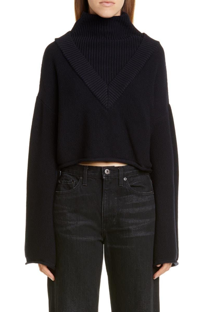 VICTOR GLEMAUD Merino Wool Crop Sweater, Main, color, NAVY