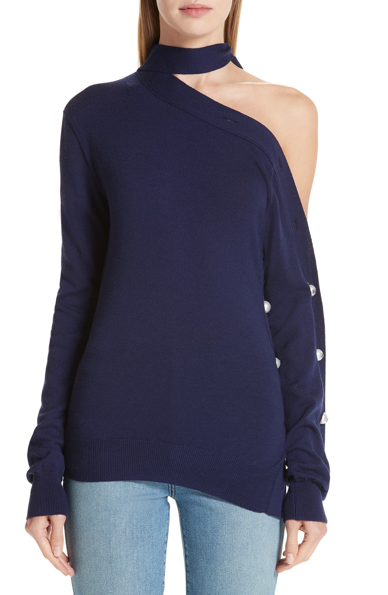 Monse Button Sleeve One-Shoulder Wool Sweater, Blue