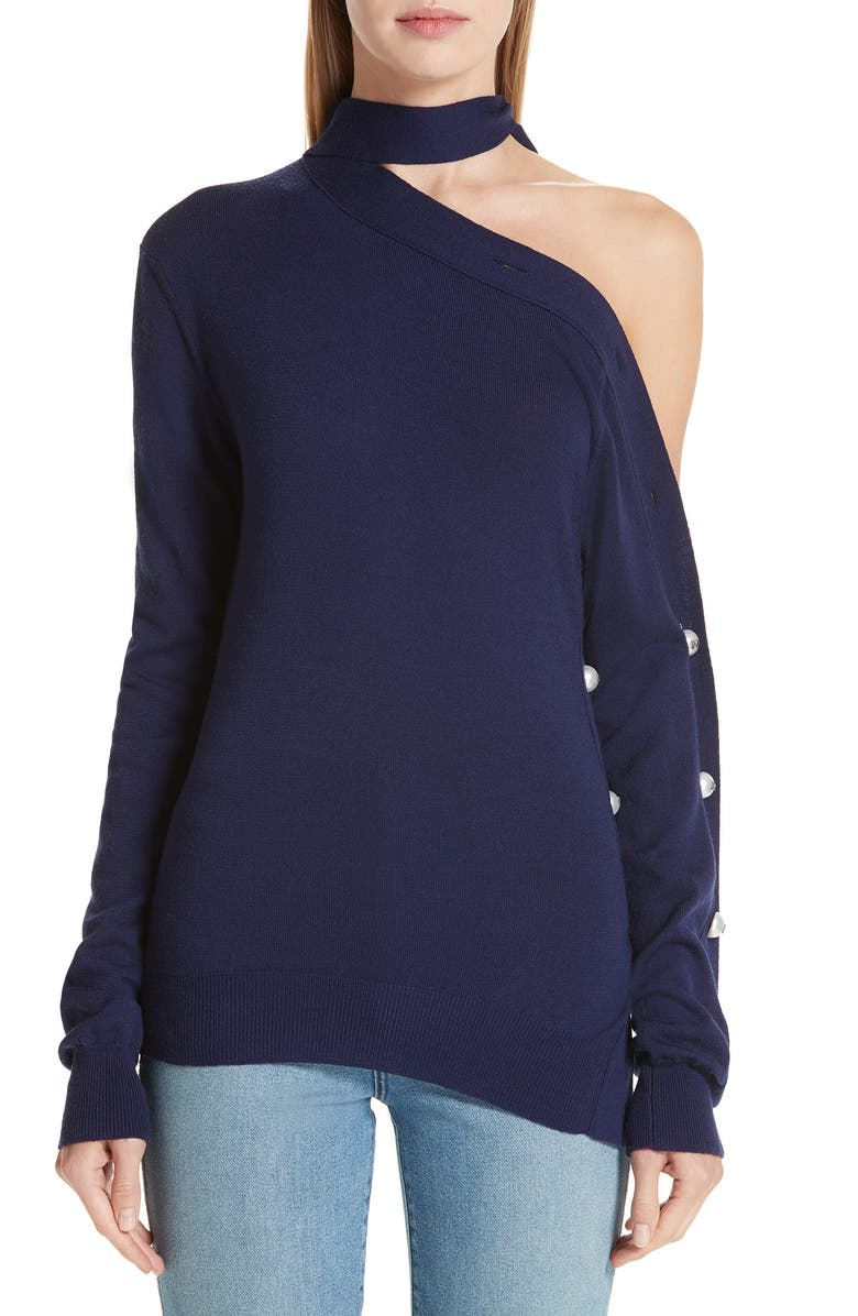 MONSE Button Sleeve One-Shoulder Wool Sweater, Main, color, 411