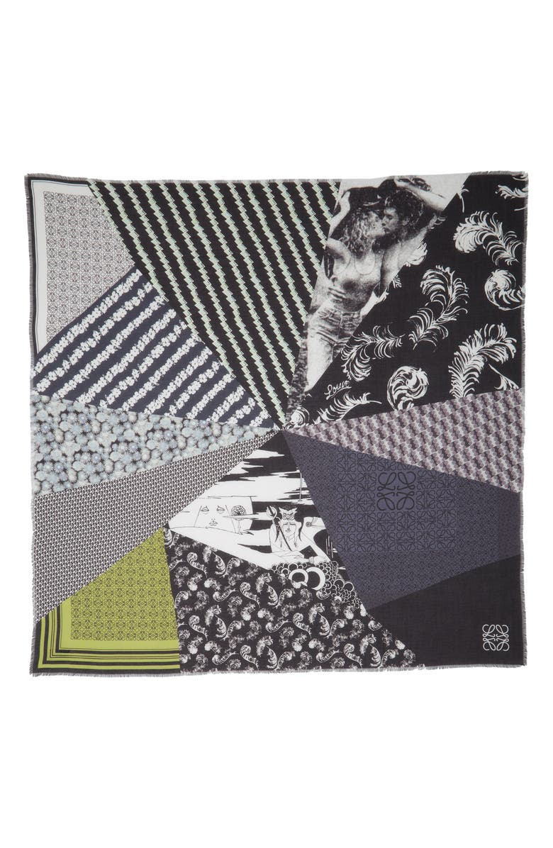 LOEWE Patchwork Print Modal & Cashmere Scarf, Main, color, WHITE/ BLACK