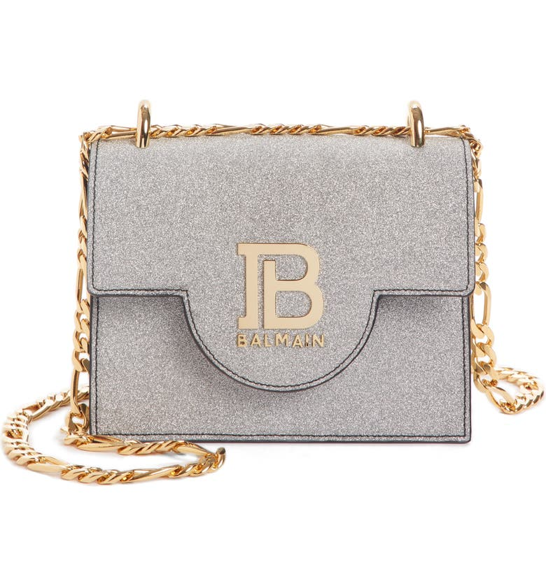 B Bag 18 Glitter Leather Shoulder Bag by Balmain