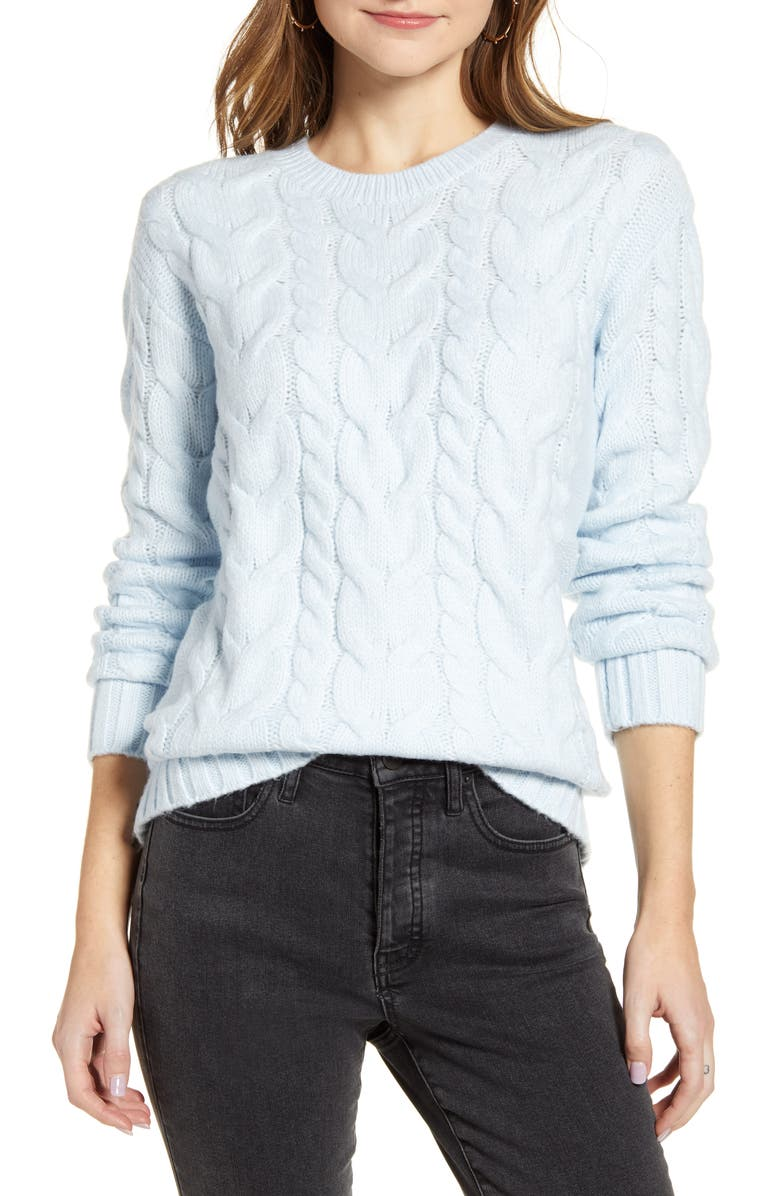 RACHEL PARCELL Cable Knit Sweater, Main, color, BLUE AIR