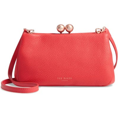 Ted Baker London Chrina Leather Crossbody Bag - Red