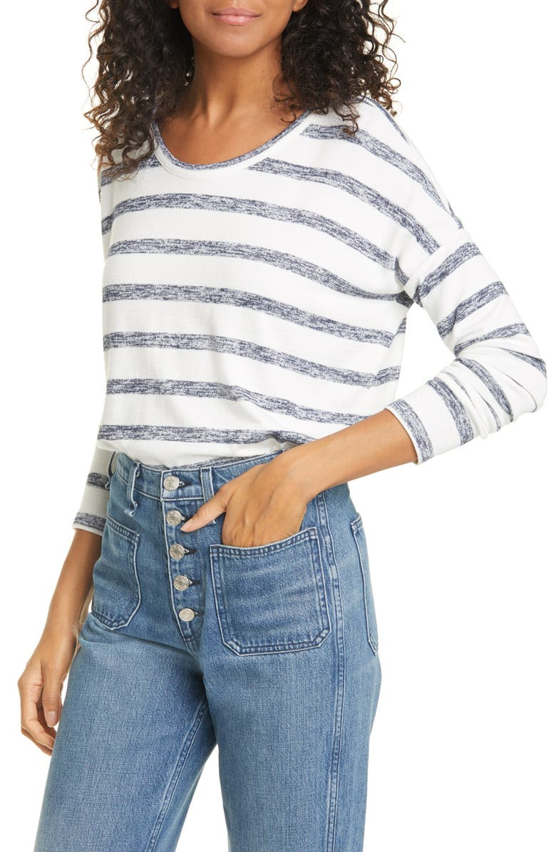 RAG & BONE Hudson Stripe Top, Main, color, WHITE NAVY STRIPE