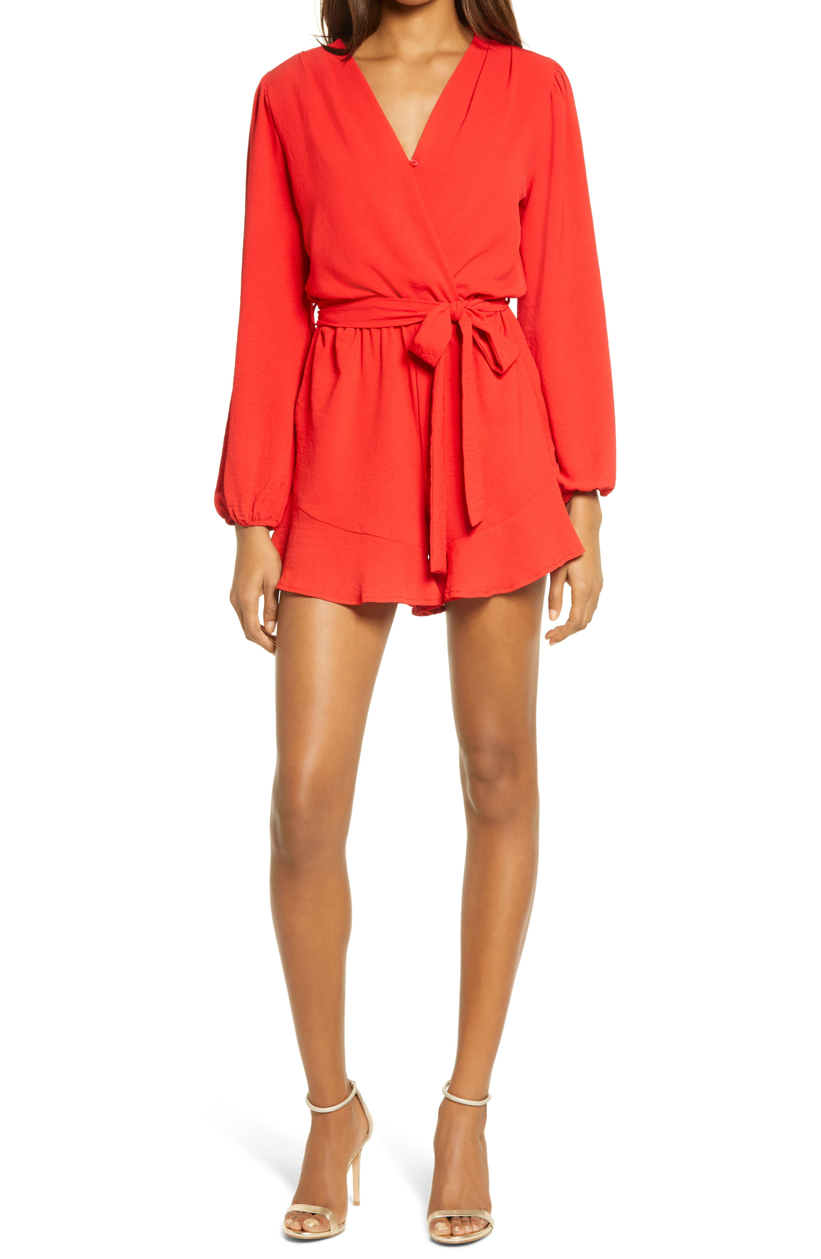 Flaired Tie Waist Long Sleeve Romper
