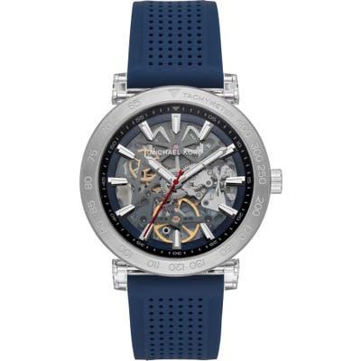 Michael Michael Kors Greer Skeleton Silicone Strap Watch,