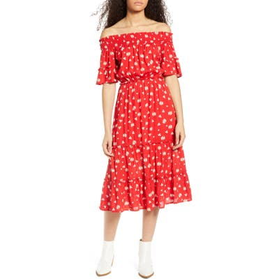 One Clothing Floral Off The Shoulder Midi Dress, Red