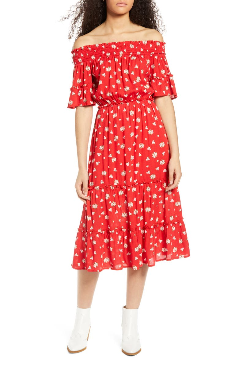 ONE CLOTHING Floral Off the Shoulder Midi Dress, Main, color, RED FLORAL