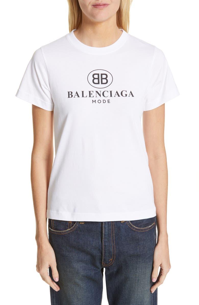 BALENCIAGA Double-B Logo Tee, Main, color, BLANC