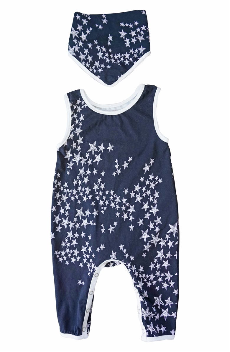 POPATU Stars Long Bodysuit & Bib Set, Main, color, BLACK