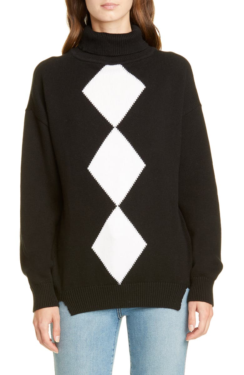VICTOR GLEMAUD Diamond Turtleneck Cotton & Cashmere Sweater, Main, color, BLACK AND WHITE COMBO