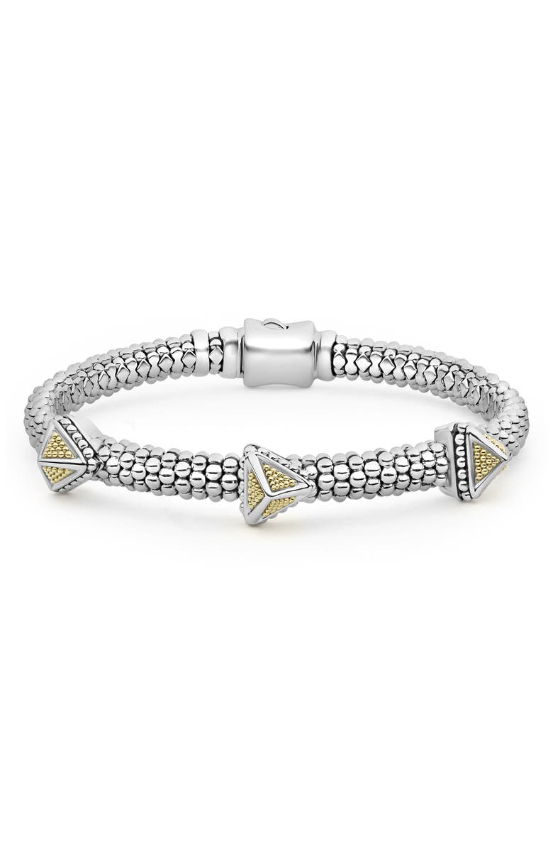 LAGOS Three Pyramid Station Rope Bracelet, Main, color, SILVER