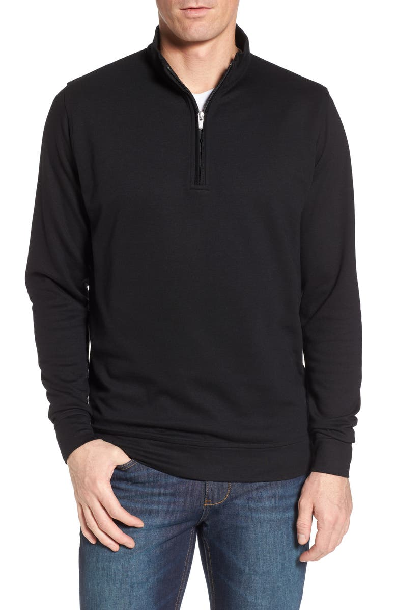 PETER MILLAR Crown Comfort Jersey Quarter Zip Pullover, Main, color, 001