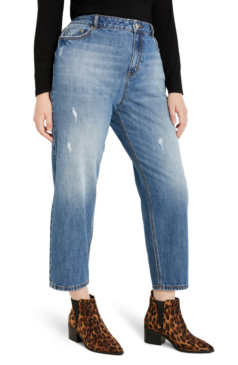ELOQUII Distressed Nonstretch Mom Jeans, Main, color, 400