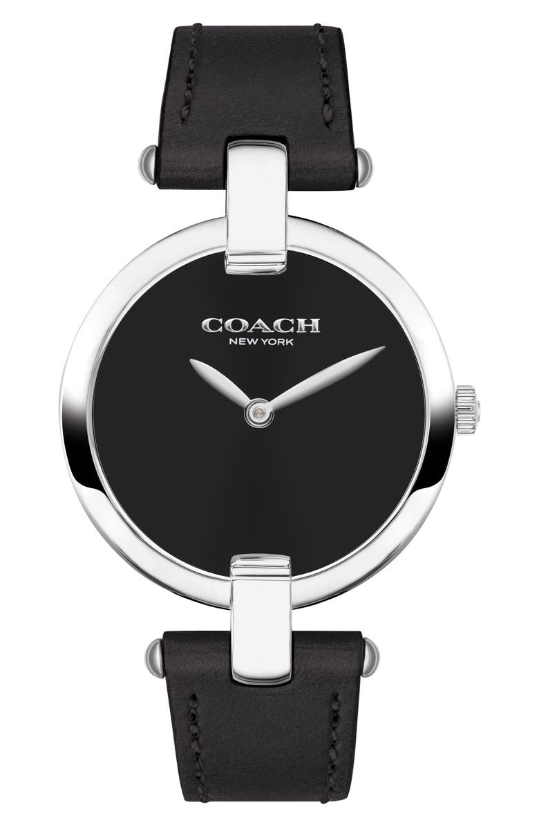 COACH Chrystie Leather Strap Watch, 32mm, Main, color, BLACK/ SILVER/ BLACK