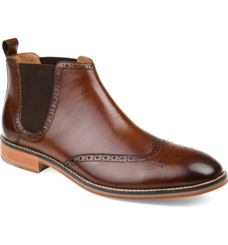 THOMAS & VINE Thorne Wingtip Chelsea Boot, Main, color, BROWN LEATHER