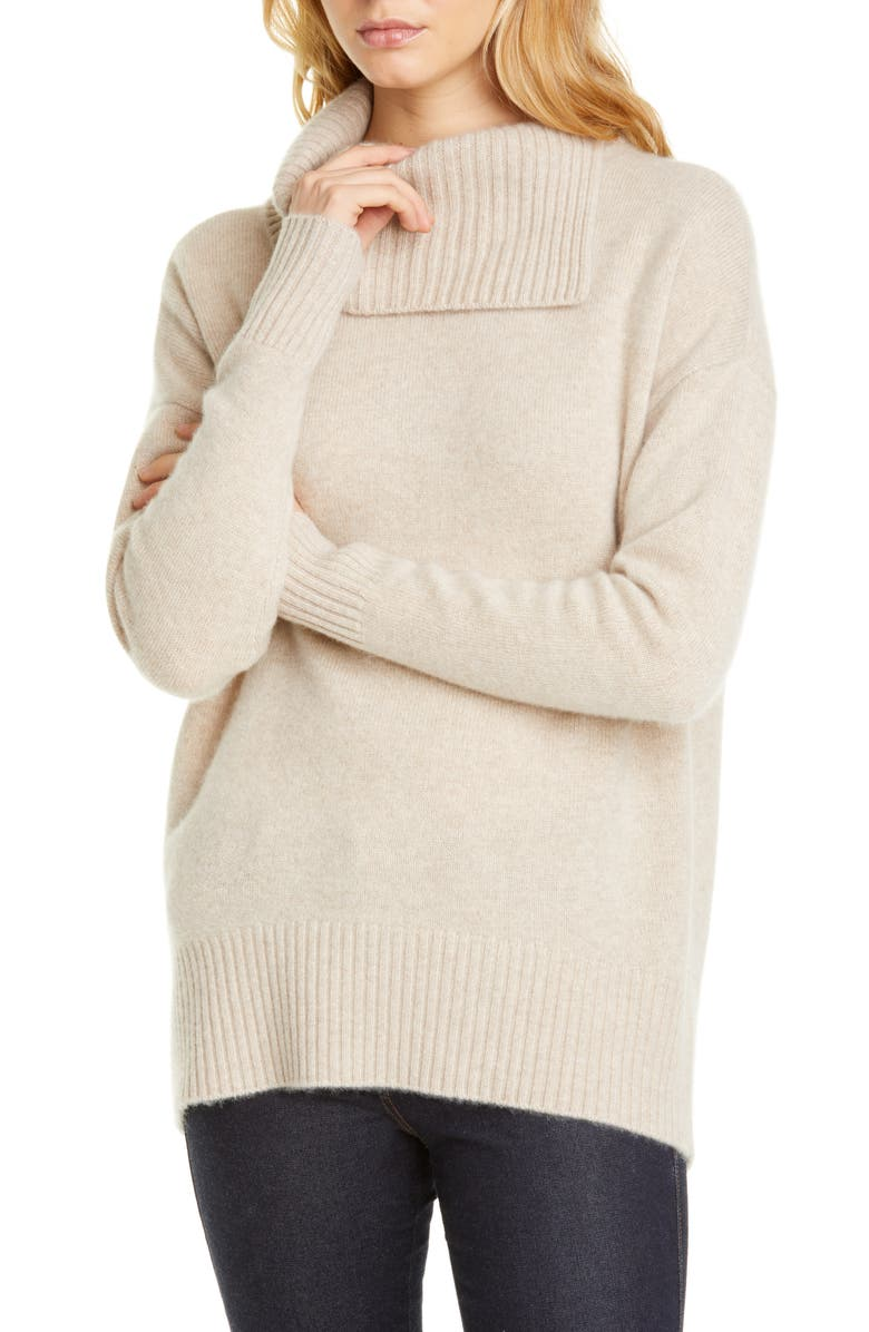 NORDSTROM SIGNATURE Cashmere Pullover, Main, color, BEIGE HEATHER