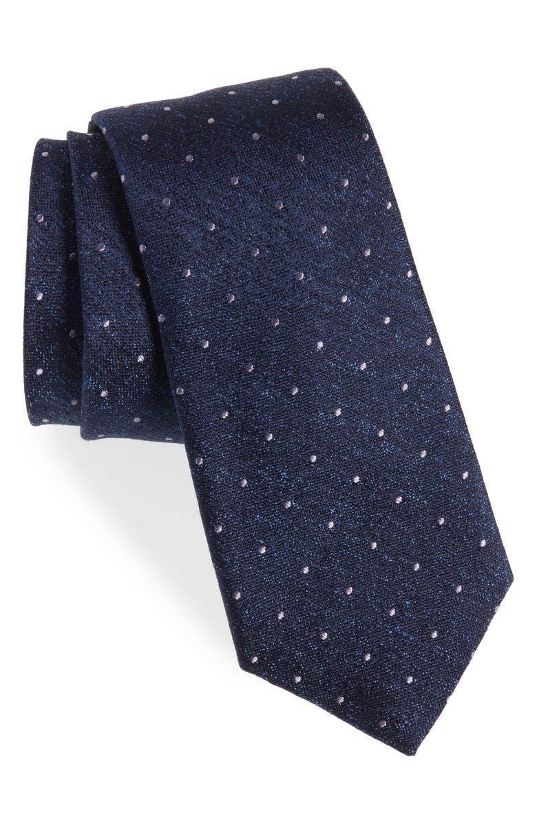 CALIBRATE Reiter Dot Silk Blend Tie, Main, color, NAVY