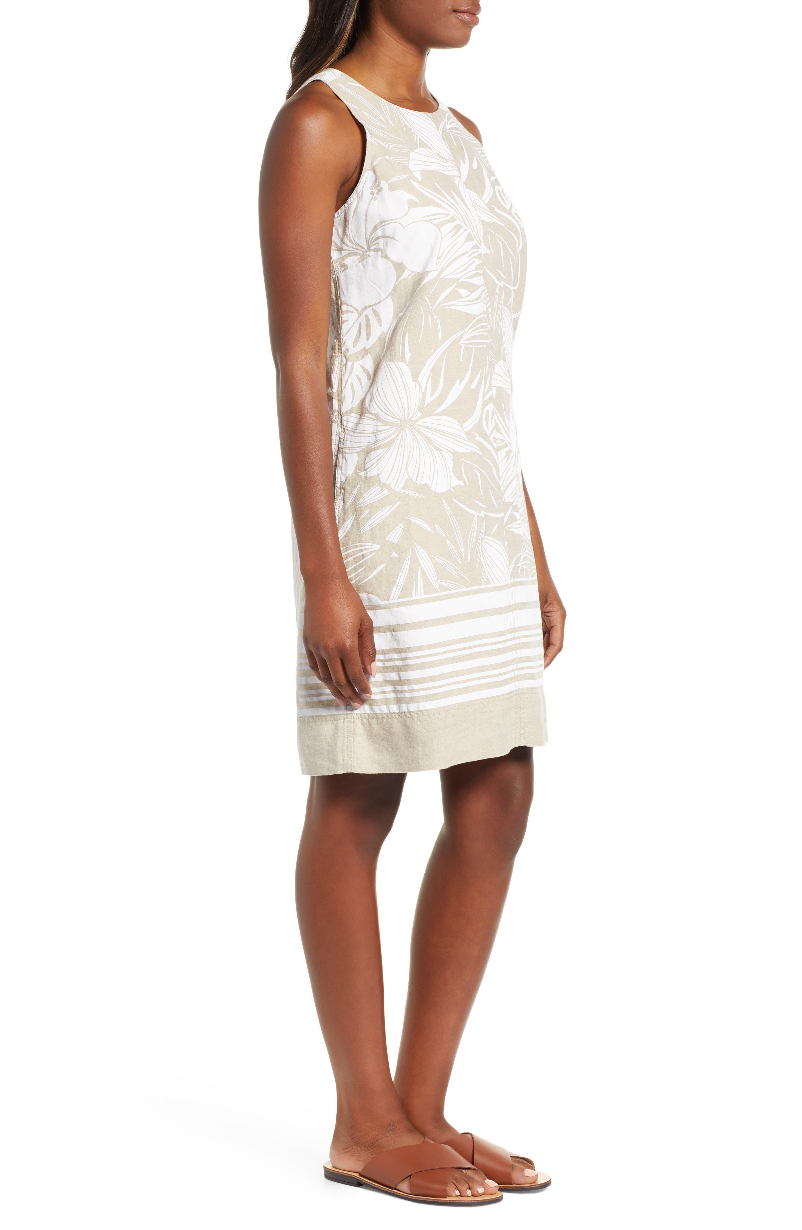 ,                             Mahana Linen Shift Dress,                             Alternate thumbnail 4, color,                             NATURAL LINEN