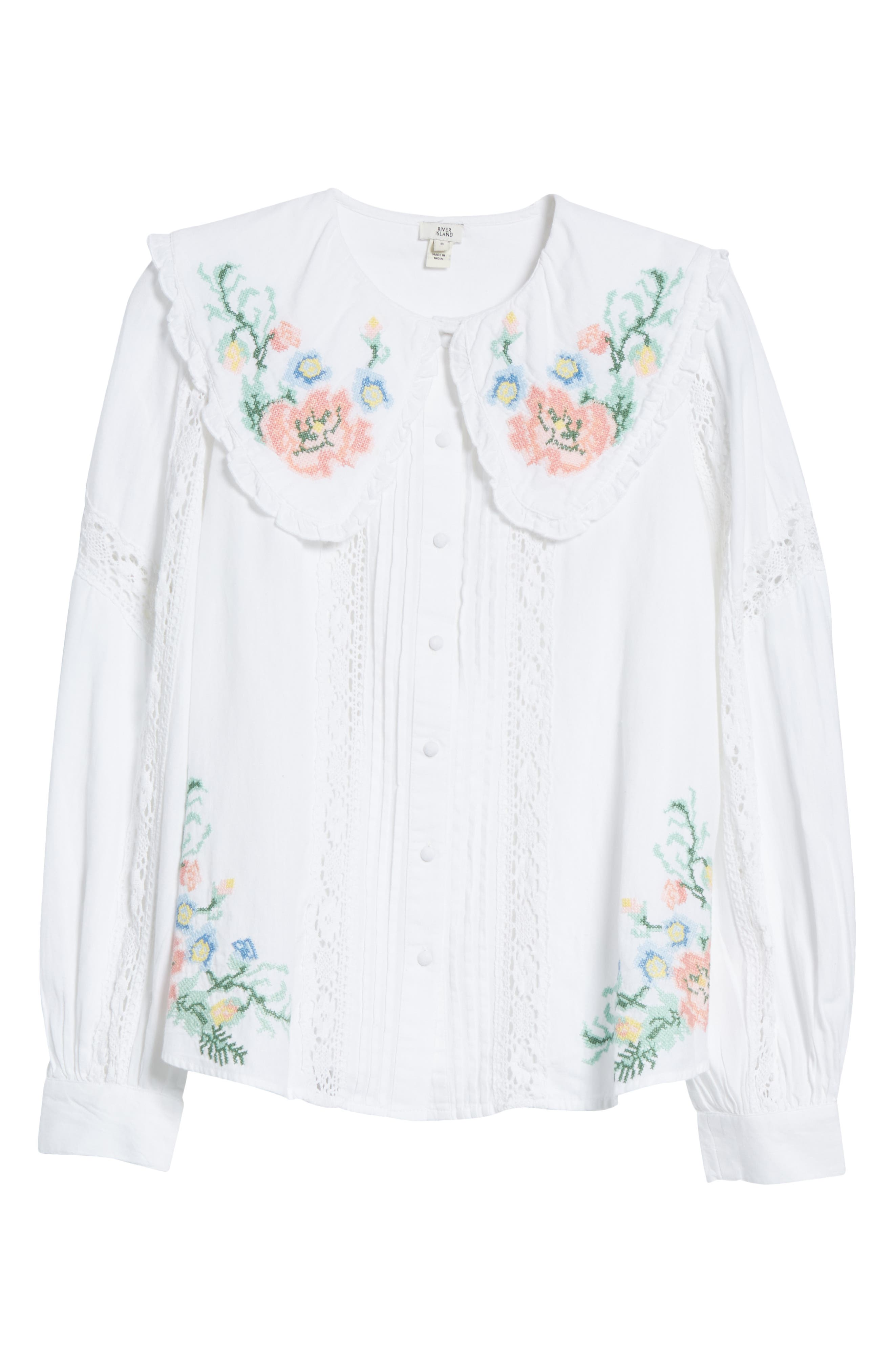 Cottagecore Clothing, Soft Aesthetic Womens River Island Embroidered Pilgrim Collar Blouse Size 12 US - White $75.00 AT vintagedancer.com