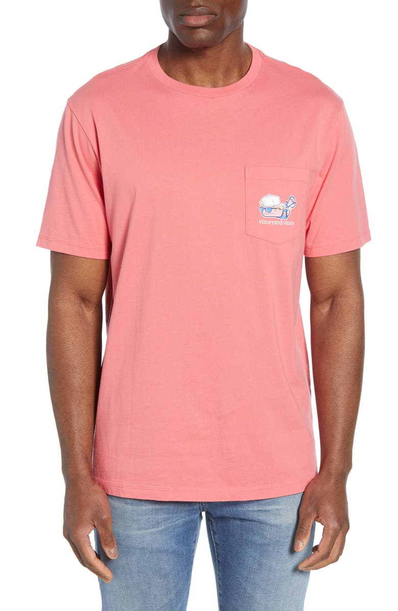 VINEYARD VINES Lacrosse Whale Pocket T-Shirt, Main, color, JETTY RED
