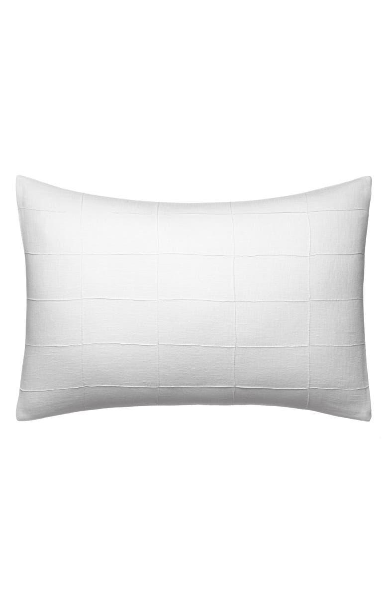 VERA WANG Linear Tucks Linen Accent Pillow, Main, color, WHITE