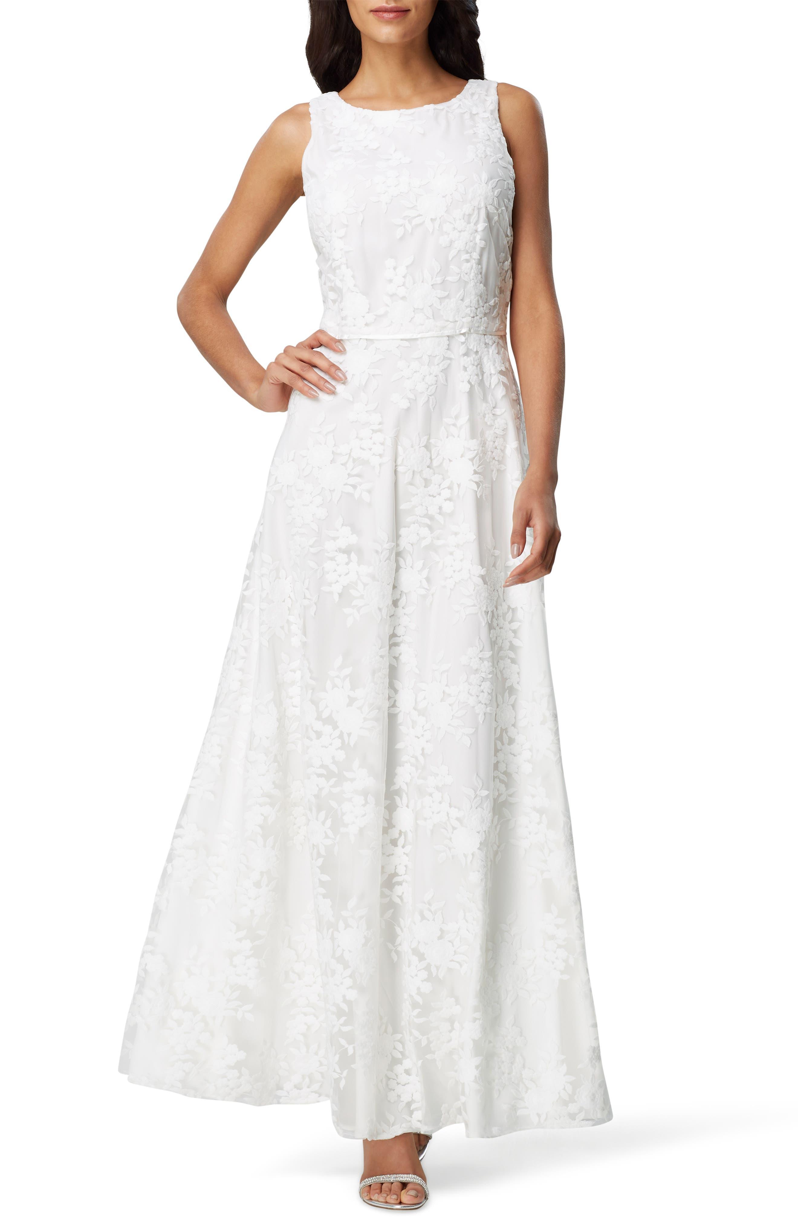 Tahari Sleeveless Embroidered Mesh Gown, Ivory