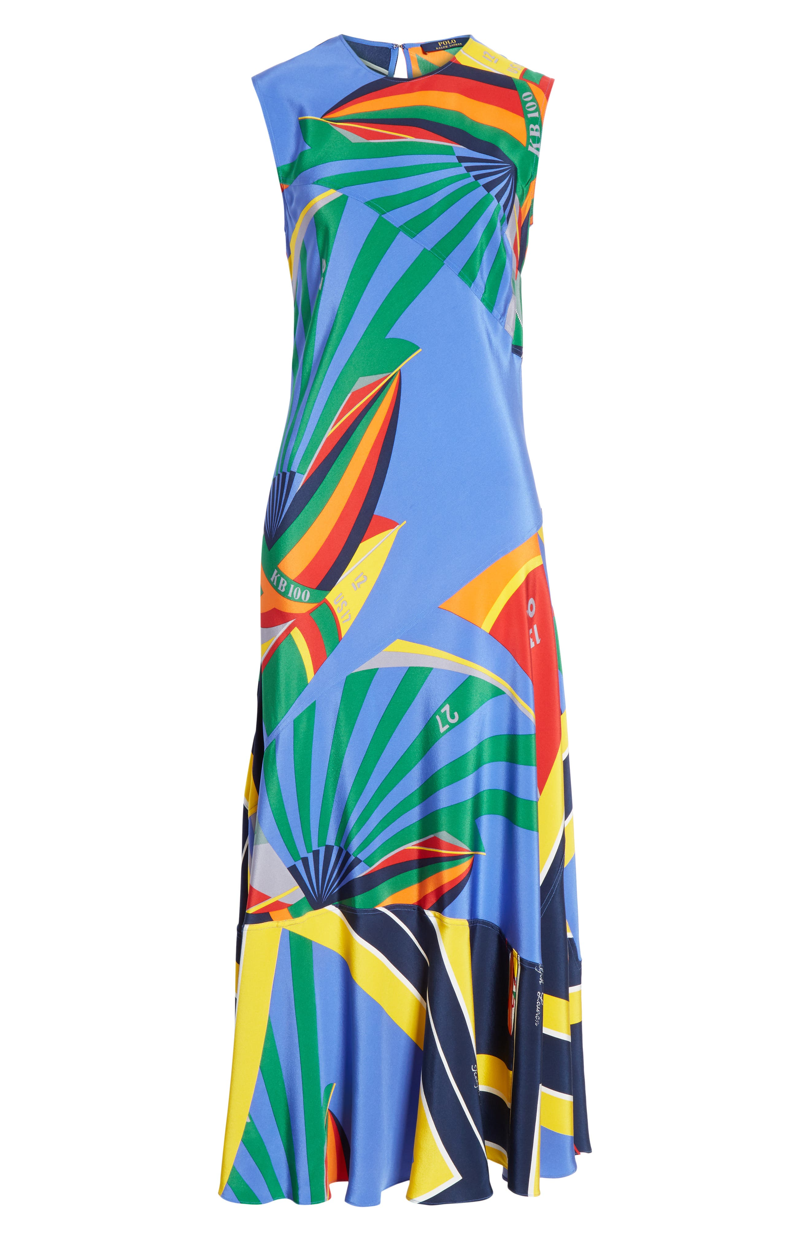 ,                             Sleeveless Silk Maxi Dress,                             Alternate thumbnail 7, color,                             WINDY SAILBOAT PRINT