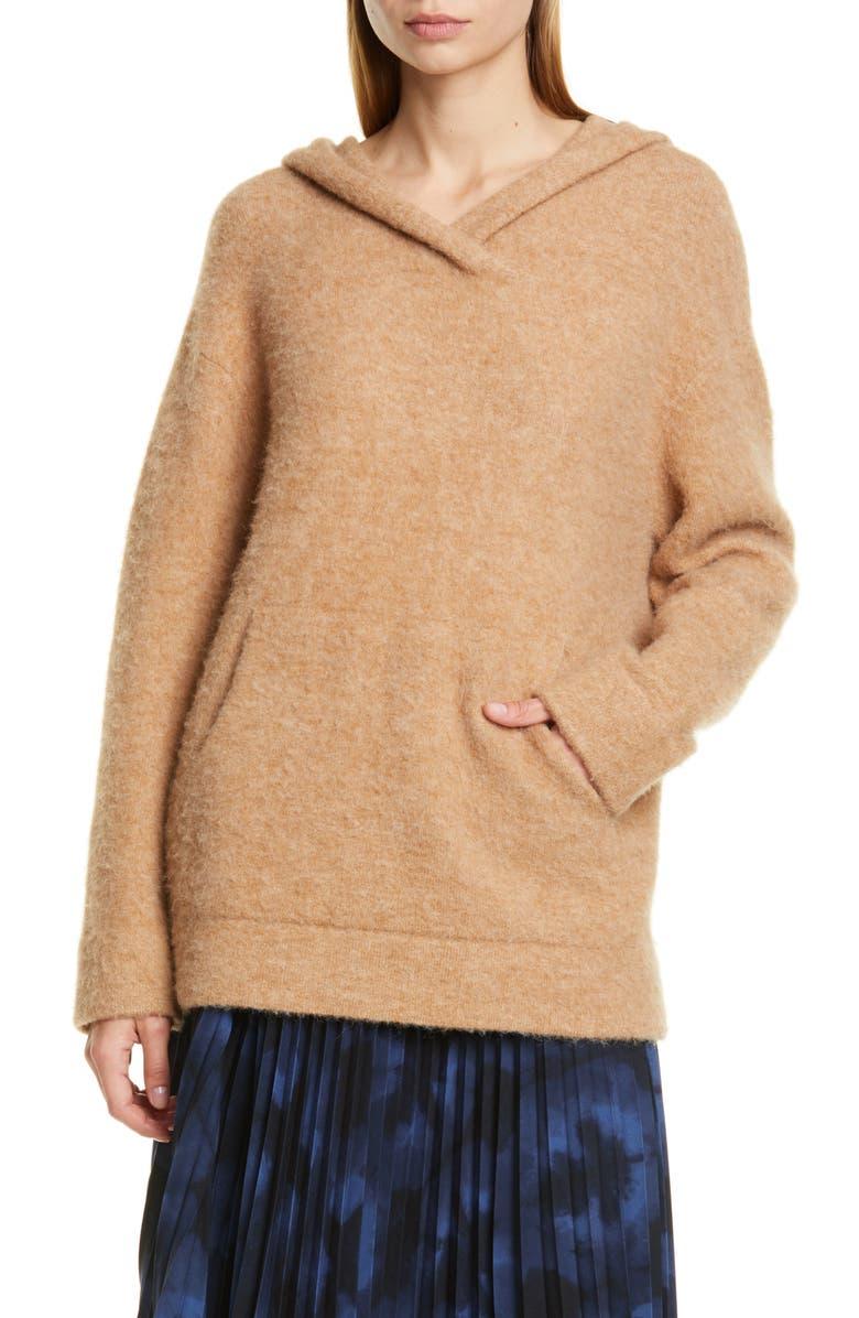 VINCE Oversize Hooded Wool & Alpaca Sweater, Main, color, CAMEL