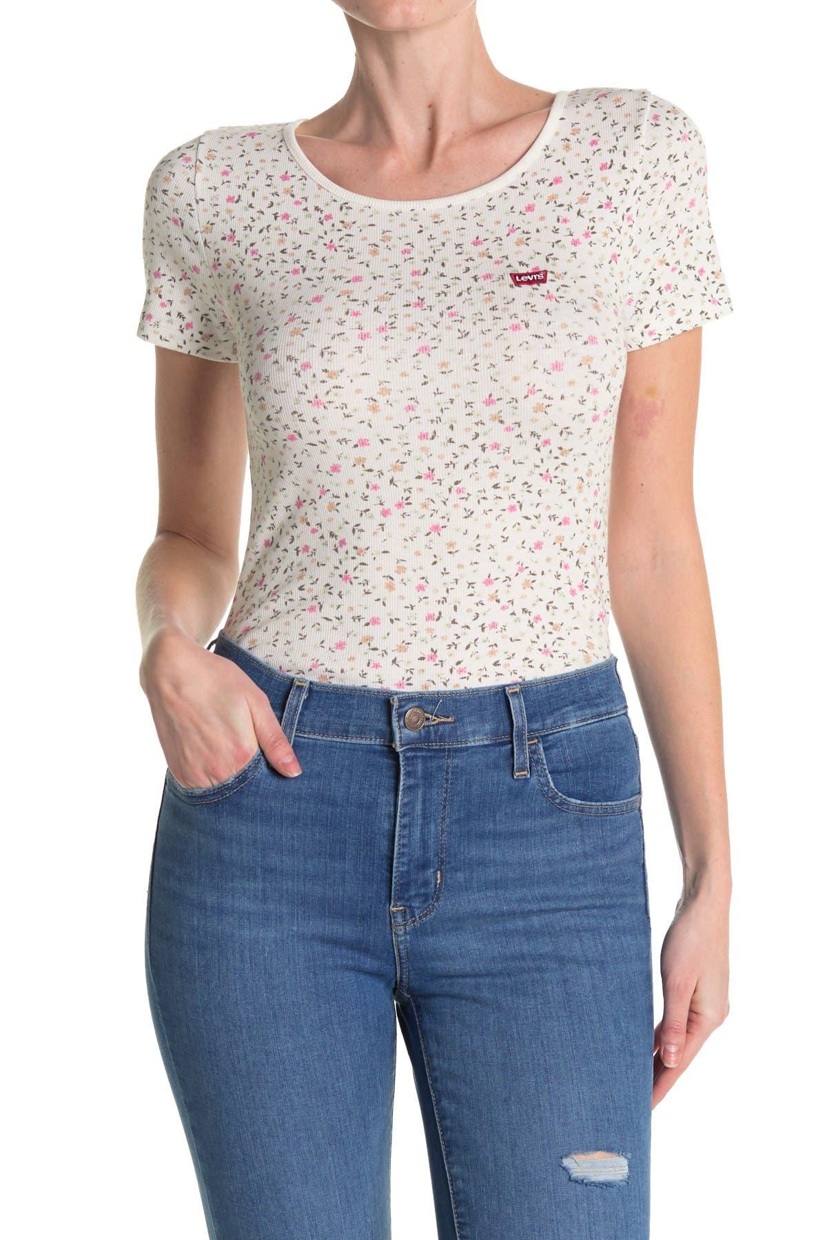 Image of Levi's Honey Floral Scoop Neck T-Shirt