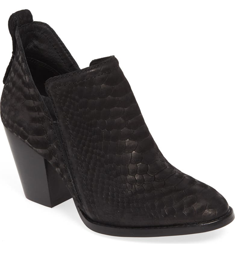 JEFFREY CAMPBELL Rowlan Snakeskin Embossed Bootie, Main, color, BLACK MATTE SNAKE