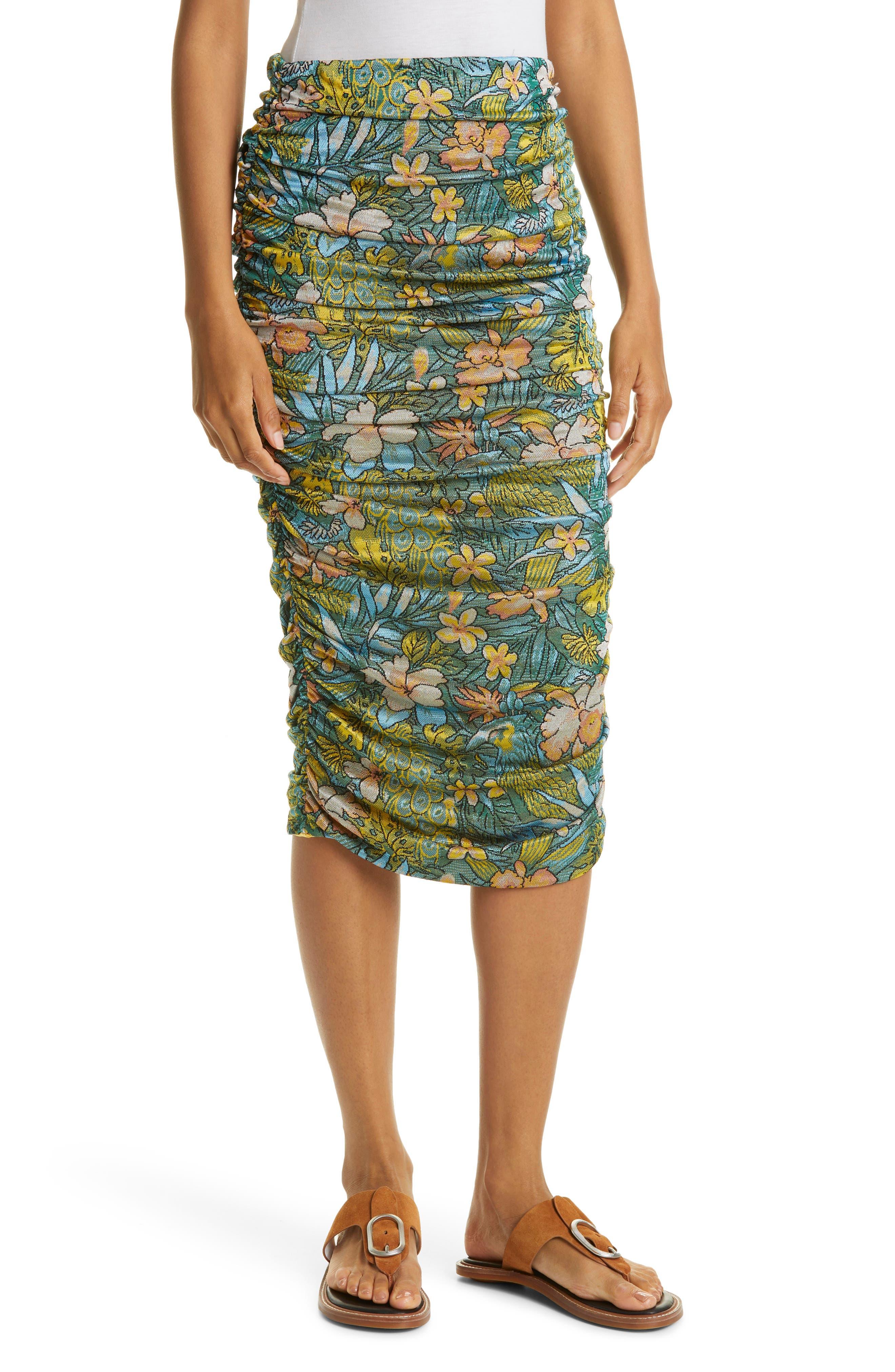Asphalt Jungle Floral Ruched Skirt