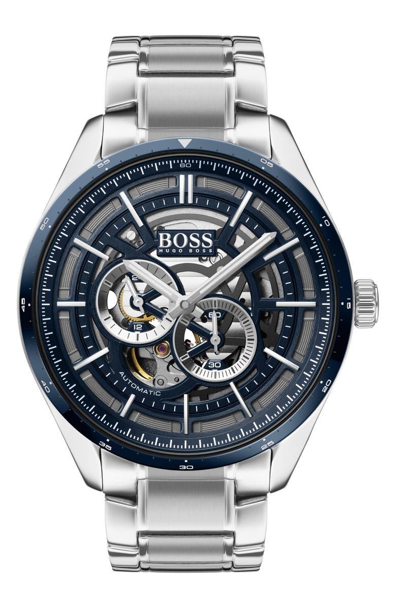 BOSS Grand Prix Automatic Bracelet Watch, 44mm, Main, color, SILVER/ BLUE/ SILVER