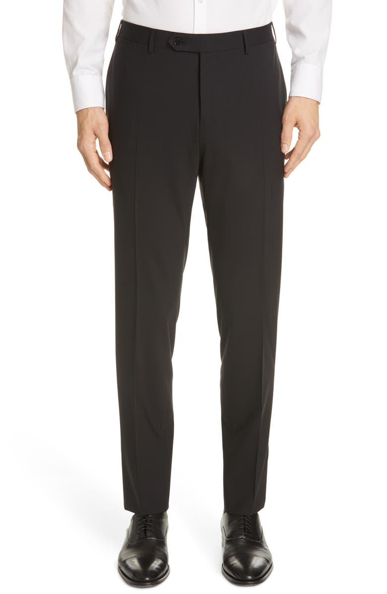 CANALI Flat Front Classic Fit Solid Stretch Wool Dress Pants, Main, color, BLACK