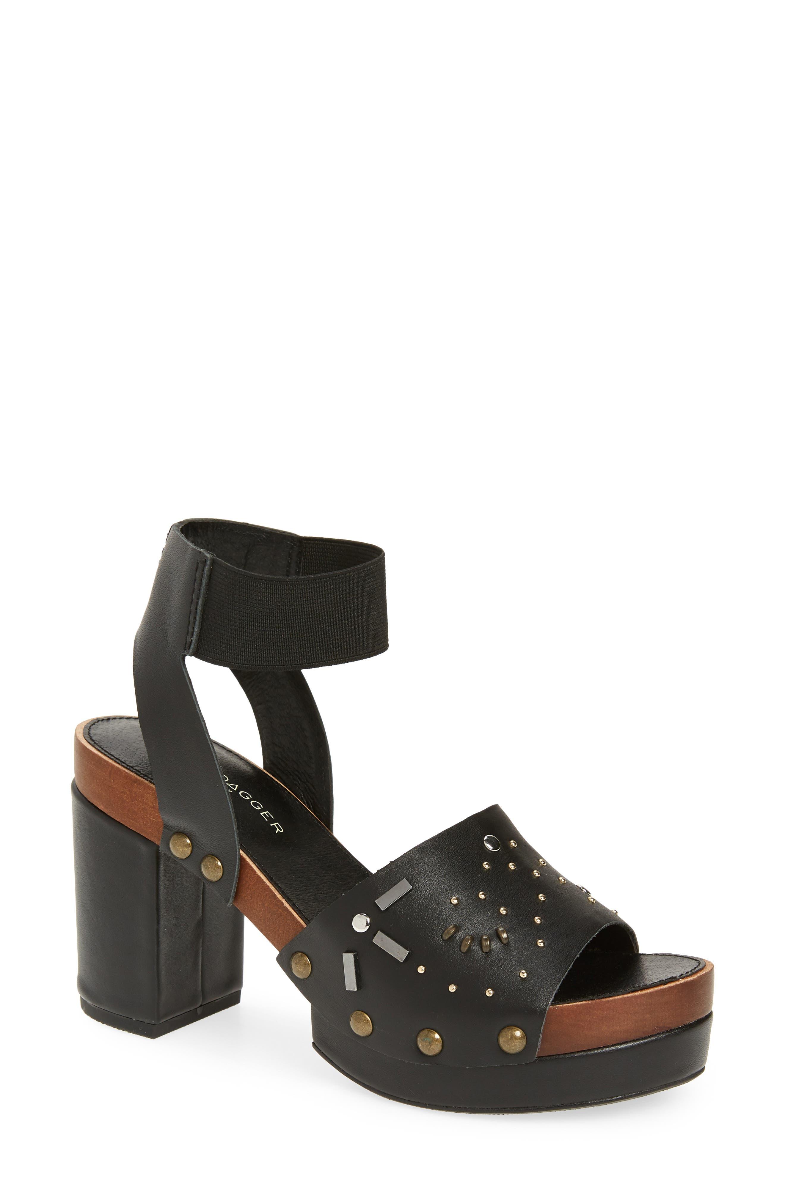Frida Studded Platform Sandal, Main, color, BLACK