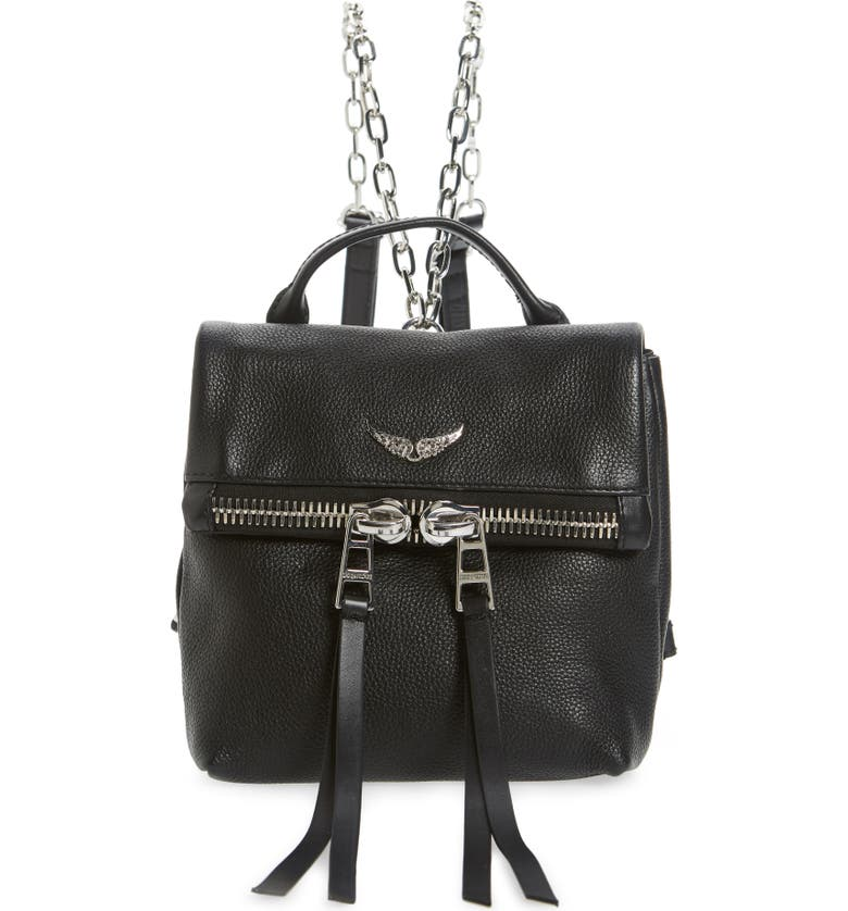 ZADIG & VOLTAIRE Romy Compact Leather Backpack, Main, color, NOIR