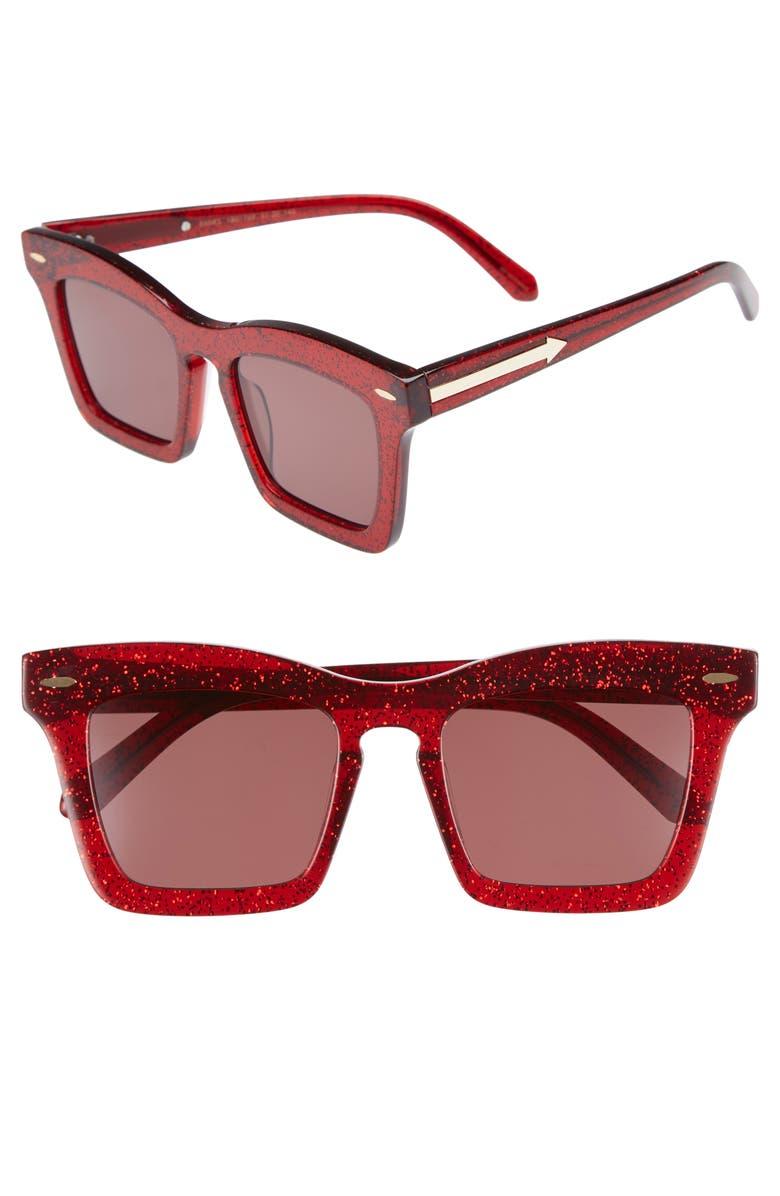 KAREN WALKER Banks 51mm Rectangular Sunglasses, Main, color, RED GLITTER