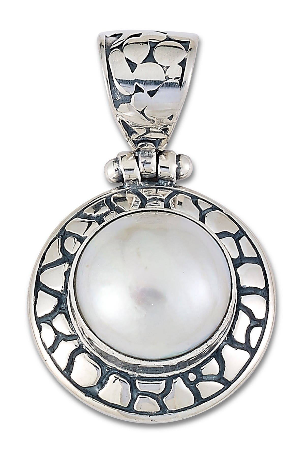 Image of Samuel B Jewelry Sterling Silver Round White Mabe Pearl Pendant